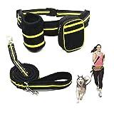 Ewolee Manos Libres Correa Extensible 135-225cm y Reflectante para Perros con Correa de Cintura y Correa Perro de Tracción para Correr,Trotar y pasear con su Perro - Verde+Negro