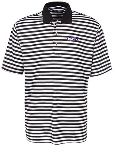 Oxford NCAA LSU Tigers Men's Bar Stripe Golf Polo, Black/White, Large