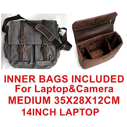 HPPLBurminsa Canvas Leder Herren Umhängetasche I große Aktentasche Umhängetasche Herren Notebook Aktentasche Reisetasche, Coffee Inner Bags -
