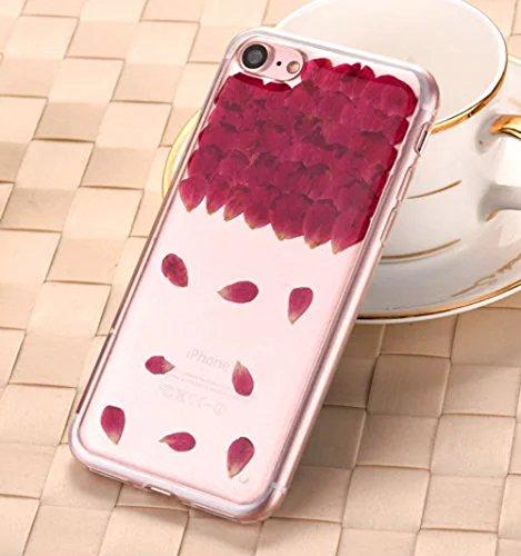iPhone 8 Klar Handycover, Aeeque iPhone 8 (4.7) Handgefertigt Echt Blume Schutzhülle, 3D Handmade Elegant Mädchen Blumen-Serie Design Klar Durchsichtig Flexibel Silikon Zurück Bumper Case Cover für iP Blumen #16