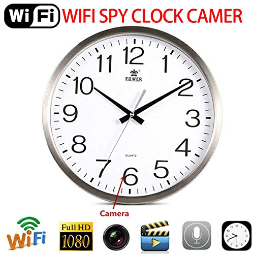 Orologio da parete,Bloomma Telecamera spia nascosta Orologio rotondo WiFi HD 1080P 2.0MP Video Recording Clock Obiettivo fotocamera spia grandangolare da 90 gradi con rilevamento del movimento