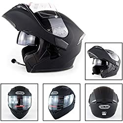 AMZ BCS Gardez Au Chaud Le Casque De Moto Bluetooth Casque De Moto Bluetooth Racing Interphone Mains Libres avec Pare-Soleil pour Casque Harley Davidson/Yamaha / Suzuki/Honda / KTM/BMW,L