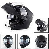 AMZ BCS Gardez Au Chaud Le Casque De Moto Bluetooth Casque De Moto Bluetooth Racing Interphone Mains Libres avec Pare-Soleil pour Casque Harley Davidson/Yamaha / Suzuki/Honda / KTM/BMW
