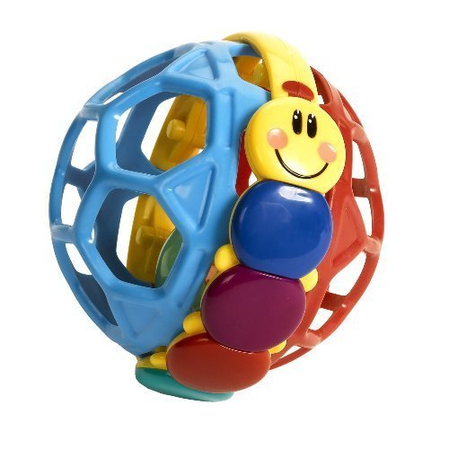 SOFT  FLEXIBLE PLASTIC MAKE THIS BALL EASY FOR LITTLE FINGERS TO BEND AND SQUEEZE - BABY EINSTEIN BENDY BALL BY KIDS II