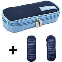 Bolso médico refrigerador portátil LOKEP con organizador de insulina para diabéticos, con 2 compresas de hielo, azul oscuro