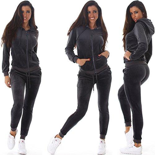 Jela London Damen Velours-Jogginganzug Samt Zweiteiler Trainingsanzug Set Freizeit Hausanzug Wellness Kapuzen-Jacke Hose Dunkel-Grau