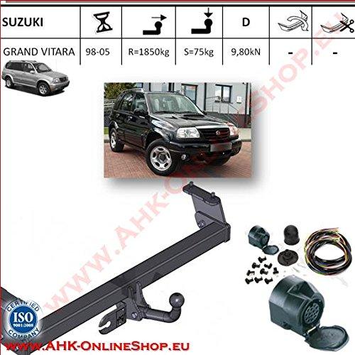 ATTELAGE avec faisceau 13 broches   Suzuki Grand Vitara de 1998 à 2004 / crochet «col de cygne» démontable avec outils