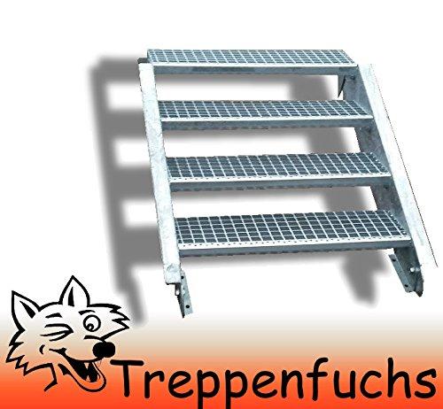 4 Stufen Stahltreppe Breite 80cm Geschosshöhe 55-85cm / Robuste Außentreppe / Wangentreppe / Stabile Industrietreppe für den Außenbereich / Inklusive Zubehör