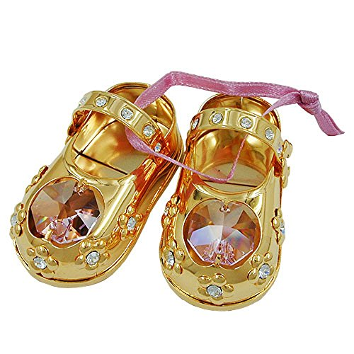ASS 1paio di scarpe bambina con cristalli Swarovski rosa, placcato oro tavolo e specchio Kit di decorazione
