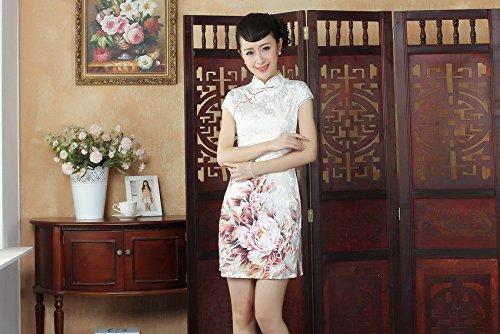 Bigood Robe Chinois Femme Cheongsam Qipao Classique Motif Fleur Eté Rose Rose