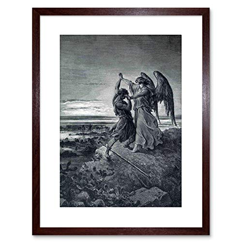 The Art Stop Painting Dore Jacob Wrestling with Angel Framed Print F97X3568 (Wrestling With Dark Angels)