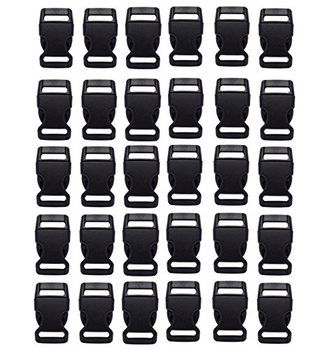 HONGCI 30PCS 20mm Black Contoured Plastic Side Mini Buckles for Paracord Bracelets, Dog Collar, Strap, Bushcraft, Backpack Accessories, Camping Tent