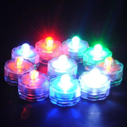 Bluelover Sommergibile di LED impermeabile decorazione floreale tè vaso batteria luce-bianco