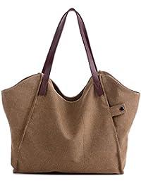 Mfeo Women Canvas Shoulder Bag Weekend Shopping Big Bag Tote Handbag Work Bag (Brown)