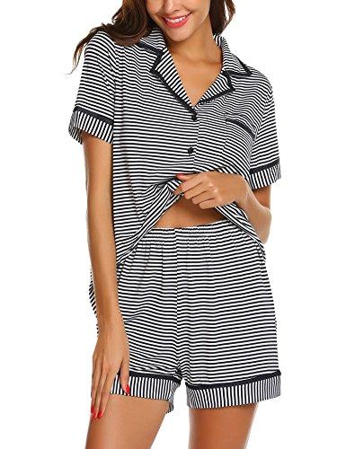 Damen 100% Baumwolle Kurze (MAXMODA Schlafanzug kurz Damen Pyjama Kurzarm Damen Nachthemd kurzer aus 100% Baumwolle softweich)