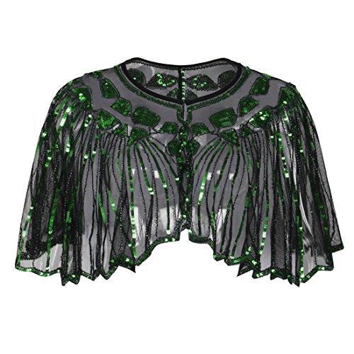 PrettyGuide Damen Stola Abendkleid Perlen Pailletten Art Deco 20er Jahre Schal Grün