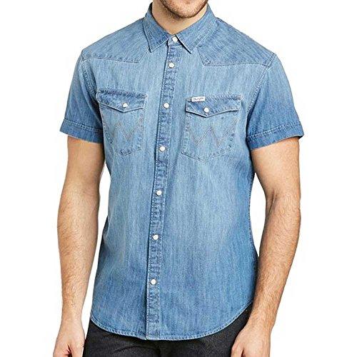 Wrangler Herren Jeanshemd SS Western Shirt Light Indigo (XL, Light Indigo) (Denim Wrangler Shirt Western)