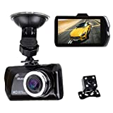 Blusmart 3 LCD 170 1080P HD Auto DVR Kamera G-sensor Videorekorder Armaturenbrett Fahrt Camcorder mit Rückfahrkamera,16GB TF Karte kainbegriffen