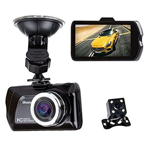 """3.0"""" LCD FHD 1080p 170 Degree Wide Angle Dual Channel Dashboard Camera Recorder Car Dash Cam with Rear Camera, G-Sensor, Loop Recording"""