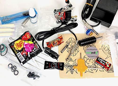 XXL TATTOO Geschenkset für Tätowierer mit Maschine! - 26 x Tattoobedarf & Süßigkeiten von INKgrafiX® Geschenk WEIHNACHTEN IG40022 SET