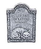 """Grabstein Katze """"Gute Zeit im Katzen Himmel"""", frost- und wetterfest, massiver Steinguss"""