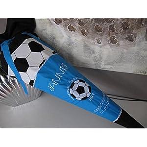 Fussball blau Schultüte Stoff + Papprohling + als Kissen verwendbar
