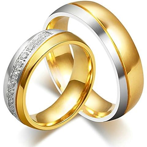 Bishilin 2Pcs Set Acciaio inossidabile Placcato Oro Bicolor Anello Fidanzamento Coppia per Lui e Lei - Oro Lungo Diamante Set