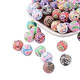 nbeads 200 Stück handgefertigte Polymer-Perlen, 12 mm, rund, bunt, Muster, Perlen für Schmuckherstellung