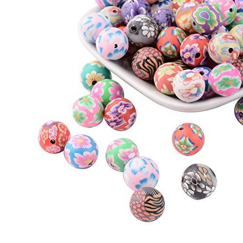 nbeads 200 Stück handgefertigte Polymer-Perlen, 12 mm, rund, bunt, Muster, Perlen für Schmuckherstellung - Polymer-perlen