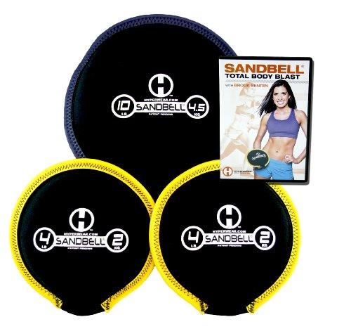 HYPERWEAR SandBell® Total Body Blast Bundle with 3 Filled SandBells and Total Body Blast Workout DVD -