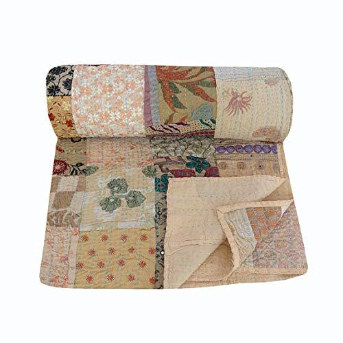 NANDNANDINI TEXTILE Indische Handarbeit Baumwolle Vintage Patchwork Kantha Steppdecke Baumwolle Bettlaken Boho Gypsy Home Decor Twin Size Kantha Tagesdecke Steppbettwäsche Set - Twin-size-bettlaken
