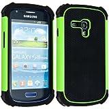 kwmobile Hybrid Outdoor Hülle für Samsung Galaxy S3 Mini - Dual TPU Silikon Hard Case Handy Hard Cover in Grün Schwarz