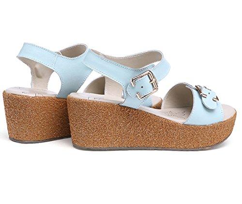 Moderne Sommer Damen Fischkopf Zehen Plateau Bequeme Keilabsatz Mutterschuhe Weiche Sohle Gummi Anti Rutsch Strandschuhe Sandalen Blau