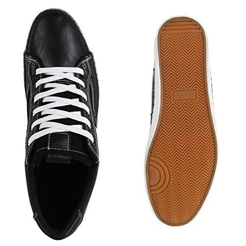 Herren Sneakers Low Sportliche Freizeit Turnschuhe Schnürer Schwarz Streifen