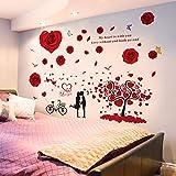 Adesivo vento adesivo nordico decorato dormitorio caldo camera da letto camera da letto comodino 3D 3D adesivo autoadesivo carta da parati, rose rosse per gli amanti, di grandi dimensioni