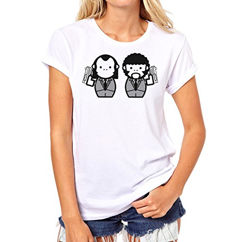 Pulp Fiction Ouentin Tarantino Movie illustration Background Damen T-Shirt Weiß