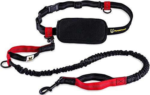 Joggingleine | Premium Hundeleine 120cm Bis 200cm | Elastisch Reflektierend Reißfest Gepolsterter Hüftgurt Hüftbeutel | Freihändig Laufen Spazieren Wandern (Kinderwagen Hund Joggen)