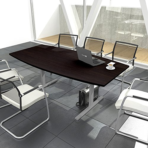 EASY Konferenztisch Bootsform 200x100 cm Wenge Besprechungstisch Tisch, Gestellfarbe:Silber