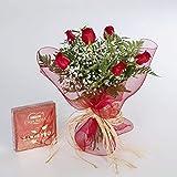 Ramo de 6 rosas rojas naturales y bombones FLORES FRESCAS-ENTREGA EN 24 HORAS DE LUNES A SABADO.