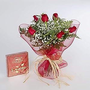 REGALAUNAFLOR-Ramo de 6 rosas rojas