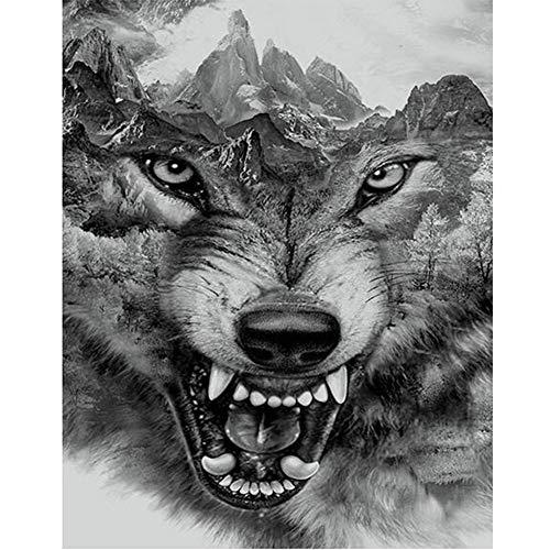 Jkhhi Wolfskopf Kunst 5d DIY Muster Diamant Stickerei Mosaikherstellung Malerei Diamond Painting Gemälde Strass Eingefügt Kreuzstich für Wohnkultur -