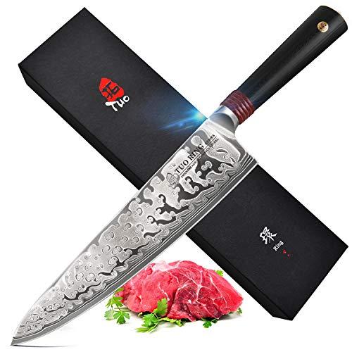 """TUO Cuchillo de Cocina 9.5"""",Acero Japonés AUS-10 de Alto Carbono y Ro"""