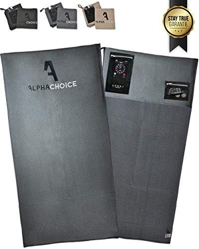 Alphachoice Sporthandtuch fürs Fitnessstudio mit Reißverschluss-Taschen/Gym Handtuch/Fitness Handtücher Damen & Herren 100cm x 50cm groß XXL (Grau)