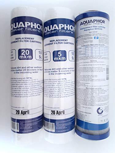 Aquaphor Ersatzfilter Set 3 Filter 2,5 x 10 Zoll SL (20 Micron + 5 Micron + 5 Micron + Carbon-Filter) für Wasserreiniger, Osmosysteme Unterwasserfilter 10 Zoll -