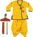 #9: SBD Krishna/Kanha Clothes Boys and Girls Clothes Kanha Dhoti Kurta Angrakha Janmashtmi Ethnic Wear Dress for Children 2 - 4 Years (Pack of 4 - Kurta, Dhoti, Bansuri, Cloth Mukut with Morpankh, Waistband)