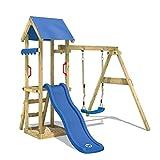 WICKEY Spielturm TinyWave Kletterturm Spielhaus mit Rutsche und Schaukel, Sandkasten und Kletterleiter, blaue Rutsche + blaue...