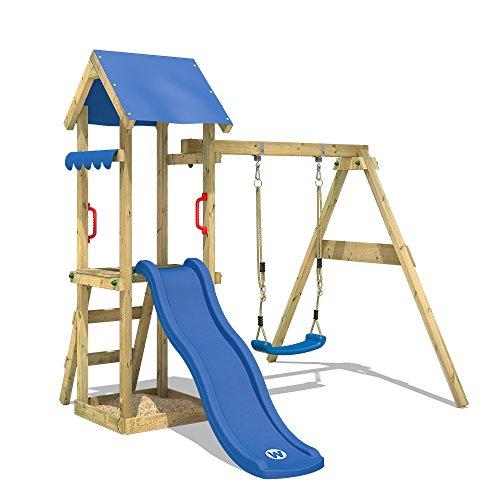 WICKEY Spielturm TinyWave Kletterturm Spielhaus mit Rutsche und Schaukel, Sandkasten und Kletterleiter, blaue Rutsche + blaue Plane