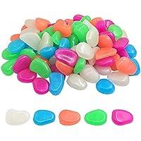 220pcs jardín, brilla en la oscuridad Pebbles piedras, yucool Pebbles piedras para pasarelas de jardín al aire libre Camino Patio césped patio Fish Tank Decoración–azul, luz azul, verde, naranja, rosa y rojo