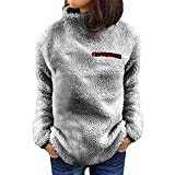 JUTOO Damen Solide Reißverschlüsse Rollkragen Bluse Fleece Sweatshirt Pullover Tops Shirt(Gray,Small)