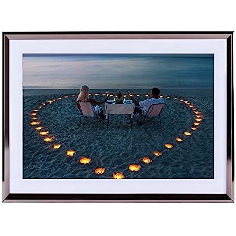 Stampa artistica da parete argento cornice in legno, spiaggia, cuori, Lovers 40,6x 30,5cm